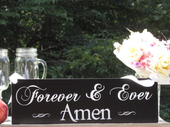 """زفاف - Forever & Ever Amen"""" © / Ring Bearer Flower Girl Sign / Painted Solid Wood / Wedding Sign"""