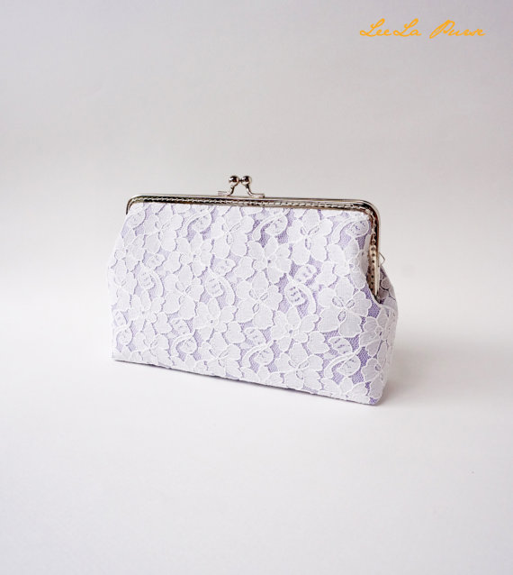 زفاف - Lilac Wedding Party / Bridesmaid Chantilly Lace Clutch, choose your own initial option / Fall Bridesmaid Gift /  Ready to Ship