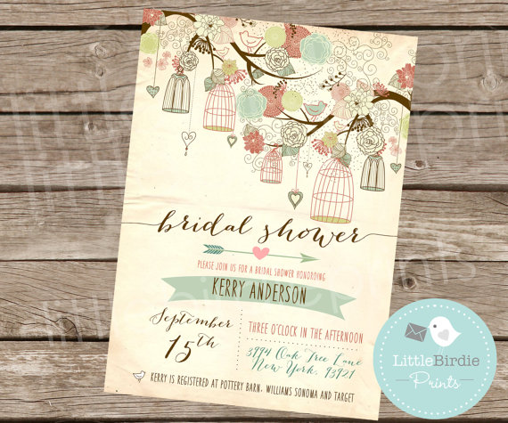 Wedding - Rustic Bridal Shower Invitation RUSTIC BIRD CAGES - Mint Pink Calligraphy Printable File Tree Flowers Branches