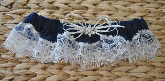 زفاف - Ready To Ship, Blue Lace Garter, Wedding Garter, Lace Garter, Bridal Garter, Eyelash Lace Garter, Navy Blue