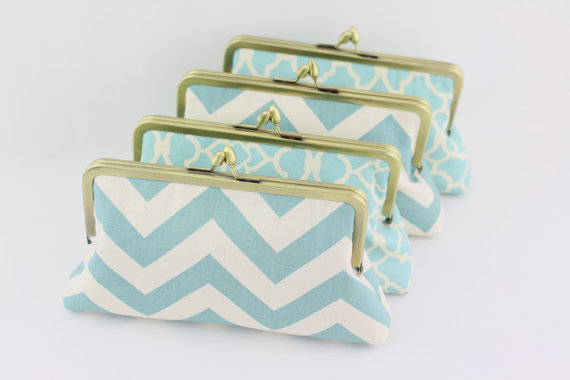 Wedding - Dusty Blue Wedding Clutches / Country Style Bridesmaids Clutches - Set of 4