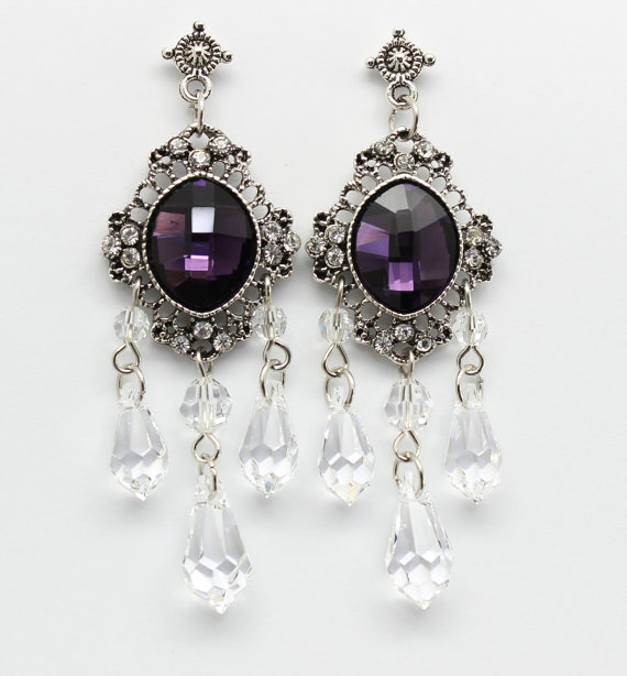 Mariage - Eggplant Amethyst Chandelier Earrings Purple Bridal Victorian Style Antique Silver Plated Filigree Wedding Jewelry,Hollywood Chic Jewelry