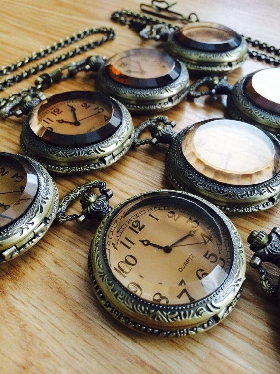 Свадьба - Wedding Pocket Watch Set of 4 Steampunk Quartz Pocketwatch Groomsmen Gifts