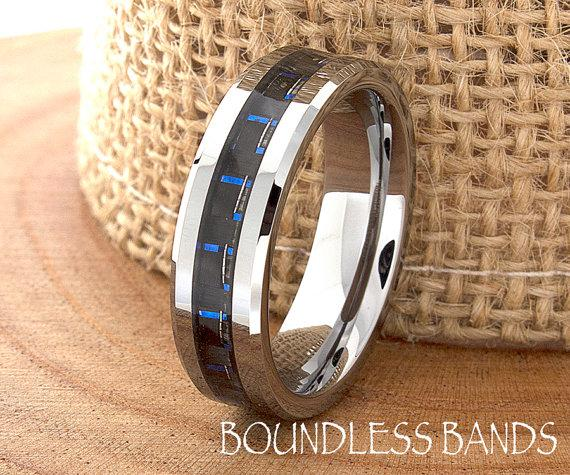 Blue Carbon Fiber Tungsten Wedding Ring Navy Mens Band Custom Laser Engraving For Him Personalized New Design