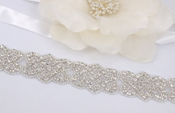 Hochzeit - Nina - Rhinestone Bridal Belt Sash