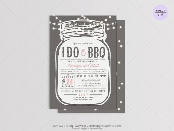 زفاف - String of Light - I DO BBQ Invitation Card - DIY Printable Digital File - Rehearsal Dinner, Engagement Party, Wedding and Couples Shower