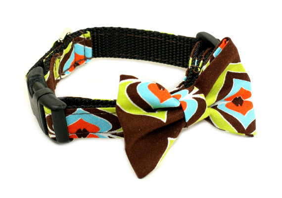 زفاف - Wedding Dog Collar or Martingale with Bow Tie - A Chocolate Treat