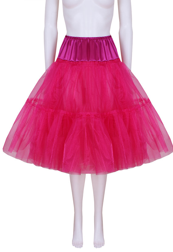 Свадьба - Gorgeous Fuschia 25 inch 2 tier 3 layer Satin & Organza petticoat. Bridal Retro Vintage Rockabilly 50's style