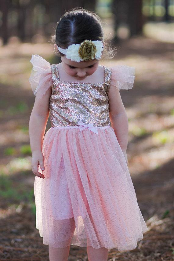 2f5bc26e56cb Pink Sequined Glitter Tulle Princess Girls Toddler Baby Dress