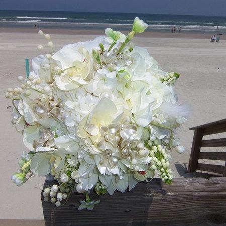 White Hydrangea Wedding Bouquet- White Orchid And Hydrangea Bridal ...