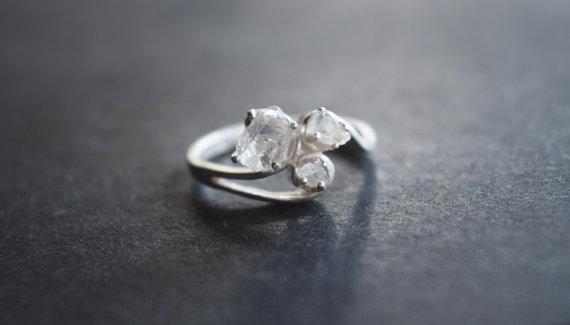 Hochzeit - Boho Raw Diamond Engagement Ring Rough Diamond Wedding Band Unique Gemstone Sterling Silver Promise Ring Size 6 Engagement Avello