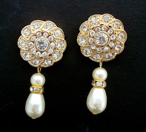 Свадьба - Bridal Pearl Earrings,Ivory Swarovski Pearls,Gold Bridal Earrings,Bridal Rhinestone Earrings,Pearl Rhinestone Earrings,Pearl, STEPHANIE