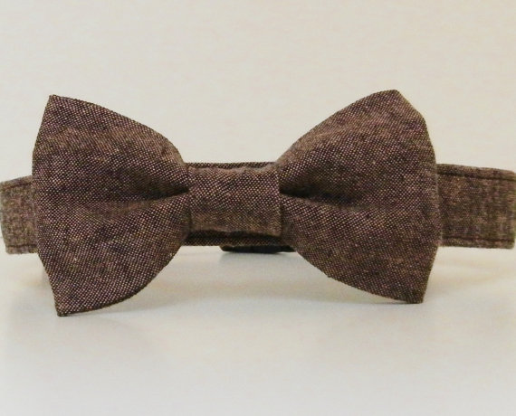 Свадьба - Chocolate Brown Tweed Menswear Bow Tie Dog Collar Summer Collar Wedding Accessories Made to Order