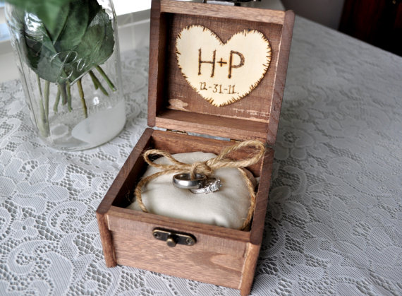 Personalized Engraved Woodburned Rustic Woodland Wooden Wedding Ring