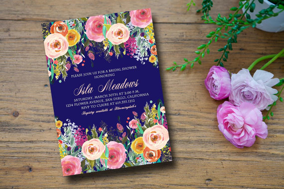 Wedding - Floral Bridal Shower Invitation, Wedding Shower Invitation, Floral Invitation, Graduation Invitation, Engagement Party - Isla
