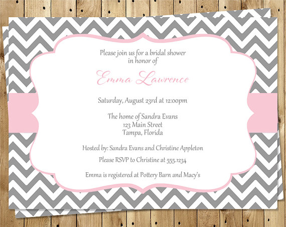 Wedding - Bridal Shower Invitations, Pink, Gray, White, Chevron, Wedding, Set of 10 Printed Cards, FREE Shipping, STLOP, Stripes of Love Pink