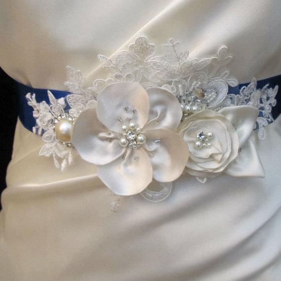 Wedding - Ivory Pearl Beaded Flower Belt Bridal Wedding Sash Light Ivory 3D Crystal Applique