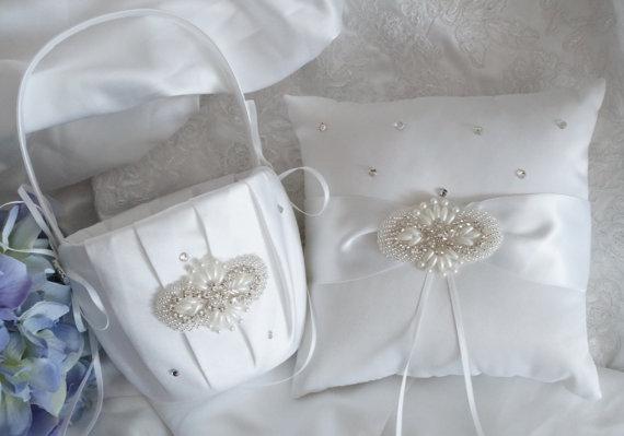 Wedding - Flower Girl Basket, Ring Bearer Pillow, Wedding Basket and Pillow Set, Beach Wedding - Style 370