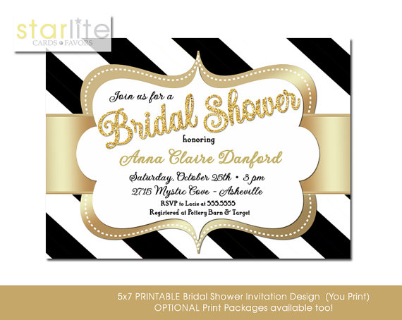 Black and gold bridal shower invitation glitter stripes engagement black and gold bridal shower invitation glitter stripes engagement party script sparkly glam unique printable digital or printed filmwisefo