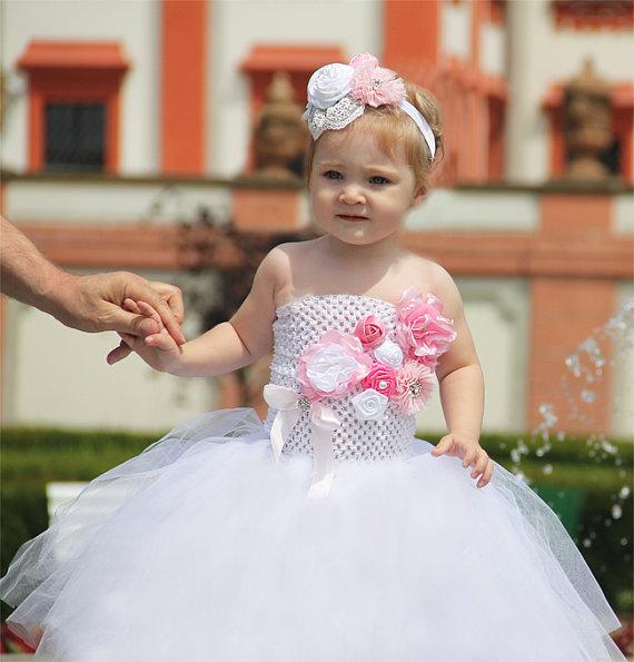 Свадьба - 2 piecies Pink Flower Girl Tutu Dress and lace headband set, pink tutu dress, pink flower girl dress, flower girl tutu dress ready to ship