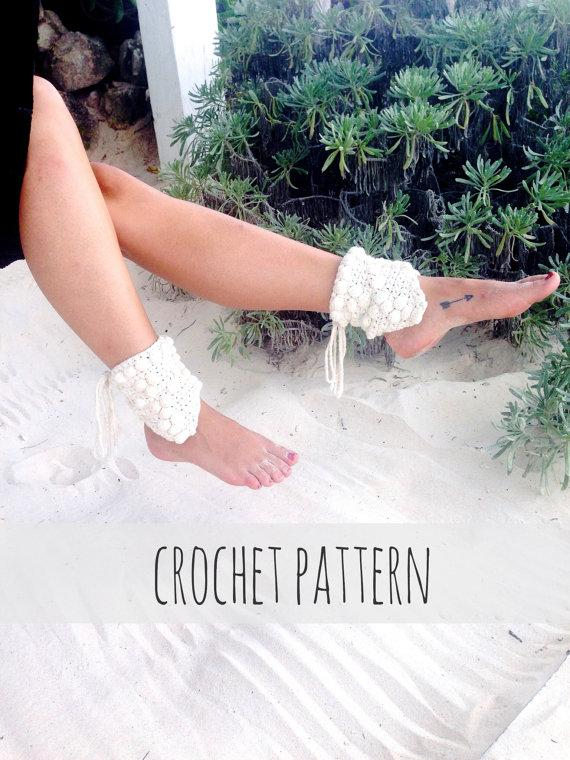 Mariage - PATTERN for Crochet Ankle Cuff Barefoot Sandals Wedding Shoes Beach // Gypsy Warrior Ankle Cuffs PATTERN