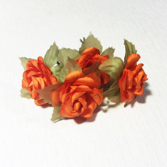 Свадьба - Orange Rose, Bohemian Wedding Hair Accessories, Bridal Hair Accessory, Orange Hair Flower, Bobby Pins, Set of 4