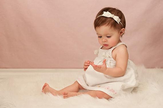 Ivory Baby Headband - Skinny Elastic Headband Boutique Bow in Custom Sizes  - Solid Color - Newborn Baby Toddler Girl Baptism Christening e9bf8555144