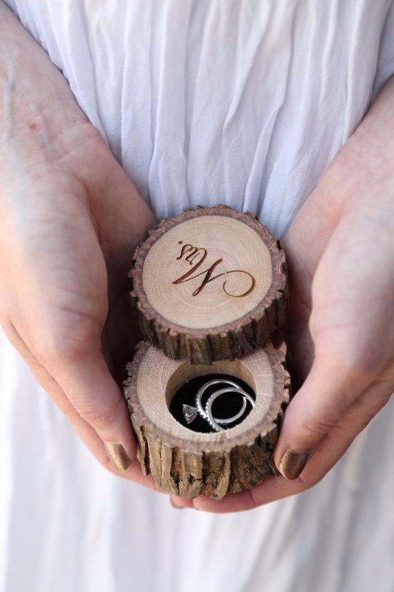 Wedding - Engraved Wood Wedding Ring Bearer Slice, Rustic Wooden Ring Holder, Reclaimed Hickory Ring Bearer Pillow - Black Velvet Lined!
