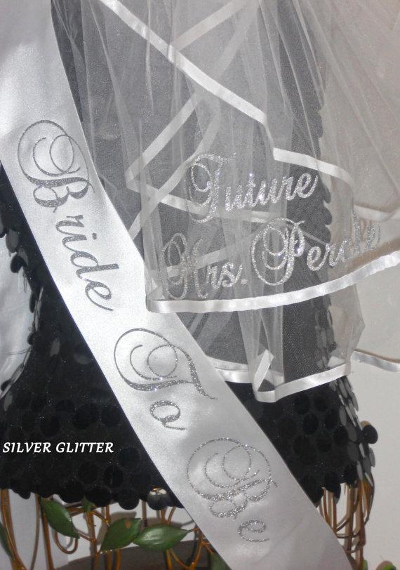 زفاف - Bridal Shower Sash and Veil Set, Bachelorette Sash and Veil, Personalized Veil & Sash,  Sash, Monogrammed Veil and Sash By Sashanation
