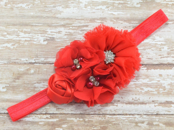 Свадьба - Red Flower Headband, Red Flower Girl Headband, Red Headband, Wedding Headband, Bridesmaid Headband, Red Formal Headband, Christmas Headband