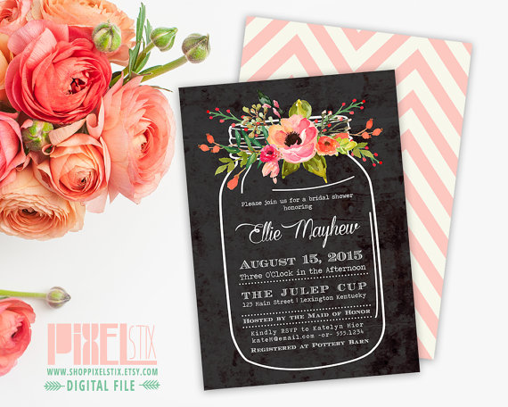 Watercolor Flower Bouquet In Mason Jar Bridal Shower Invite ...