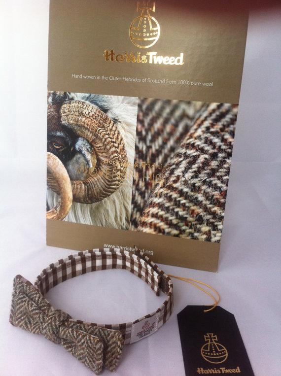 Свадьба - skinny Harris tweed  bow tie made in Scotland groomsmen gift wedding tie corporate gift