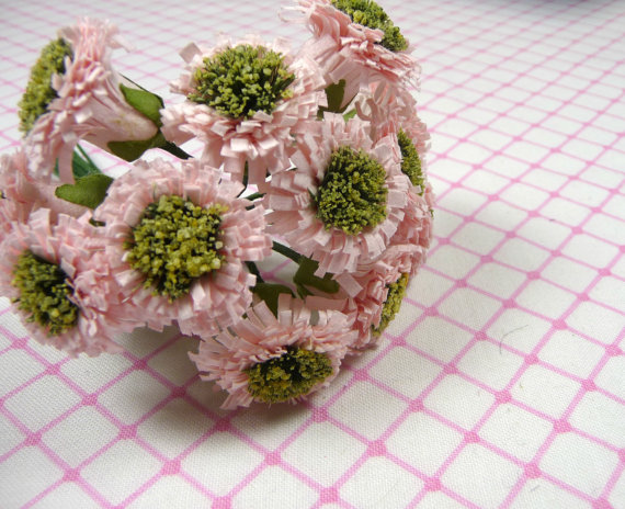 Mariage - Pink Parchment Daisies Strawflowers One Dozen Bouquet Nosegay Shabby Chic for Crafts Scrapbooking Weddings