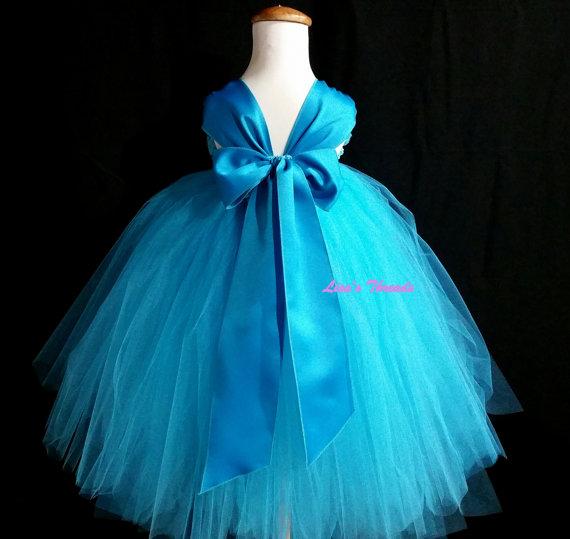 Turquoise Flower Girl Dress/ Blue Flower Girl Dress/ Junior ...