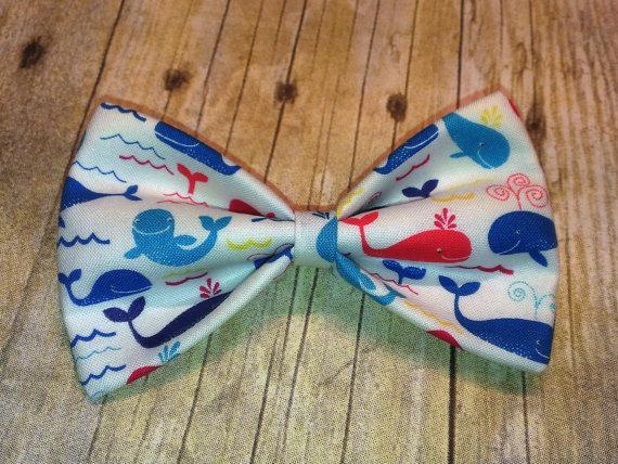 زفاف - Happy Whales Bow Tie, Hair Clip, Headband or Pet Bow Tie