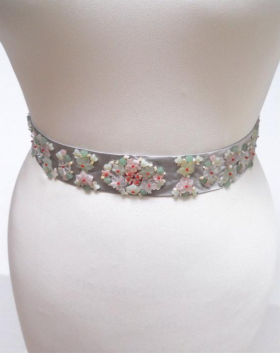 Mariage - Gemsone belt sash, Bridal belt sash, Wedding belt pearl and gemstone sash, Silver bridal belt sash, Beaded bridal belt, Bridal crystal belt