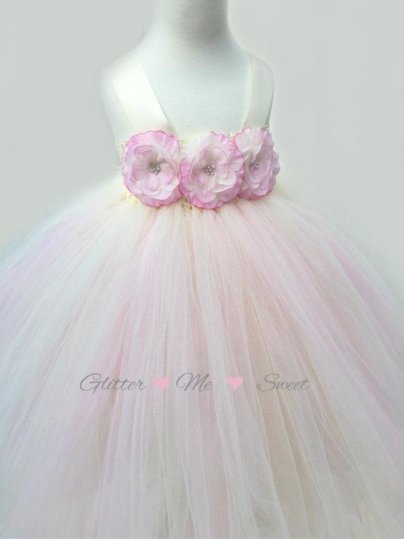 Mariage - Flower Girl Dress - Ivory Tulle dress - Tulle Flower Girl Dress - Little Girls Dress - Pink Flower Girl Dress -Tutu Dress -Pink Blush Dress