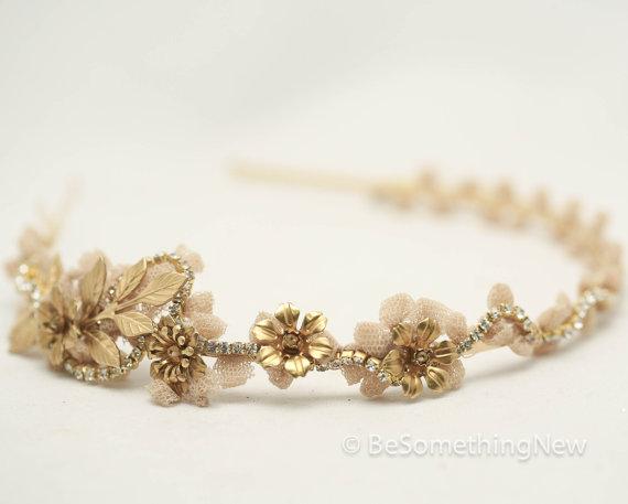 زفاف - Vintage Lace and Gold Rhinestone Headband Tiara with Gold Leaves and Vintage Metal Flowers, Wedding Hair, Headpiece, Wedding Hair Accessory