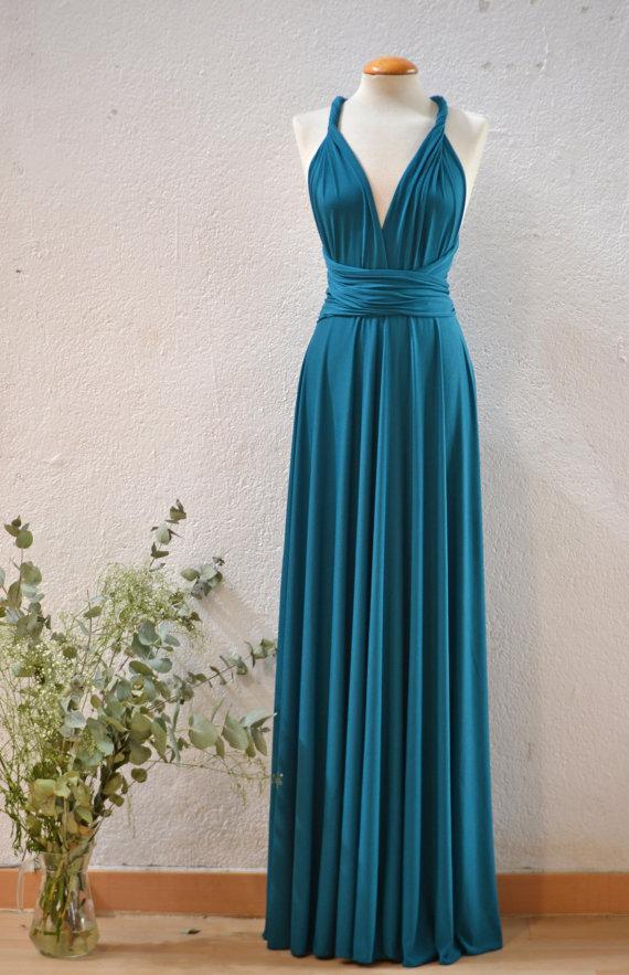 Teal Maxi Dress Bridesmaid Dress, Turquoise Long Dress, Party Long ...
