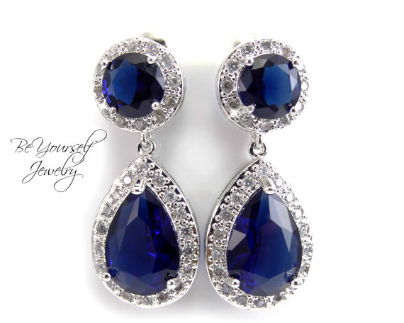 Shire Bridal Teardrop Earrings Sparkly Cubic Zirconia Hypoallergenic Posts Navy Bridesmaid Gift Wedding Jewelry Something Blue