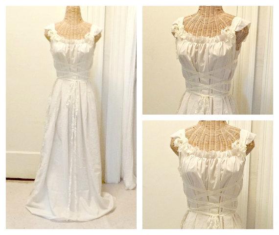 Wedding - Medievel Maiden Corset Dress Bridesmaid Affordable Mini, Midi or Maxi, White or Ivory Custom Ren Faire Womens