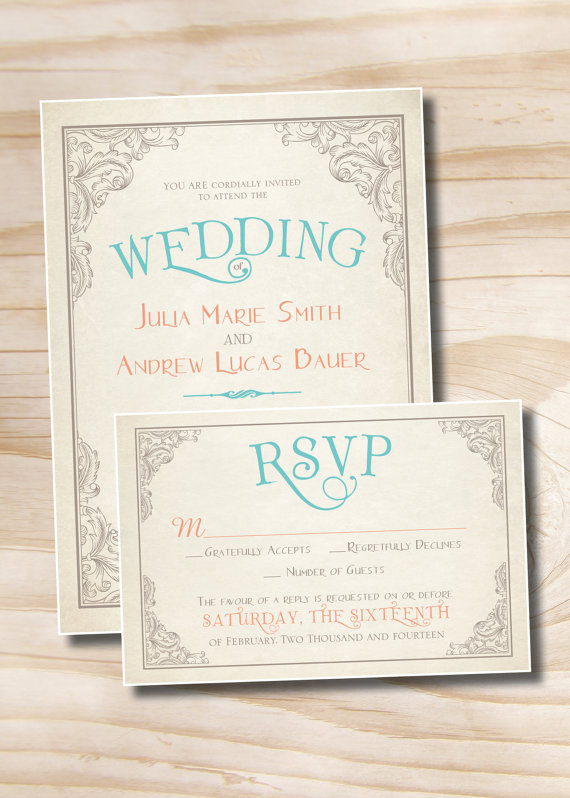 زفاف - ELEGANT SCROLL Vintage Rustic Wedding Invitation/Response Card - 100 Professionally Printed Invitations & Response Cards