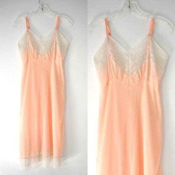 زفاف - Vintage 40's Pink lingerie lace slip dress nightgown S / M