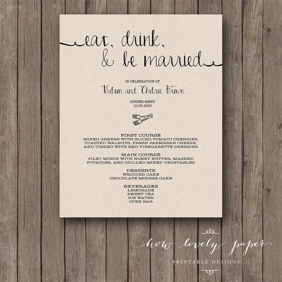 زفاف - Printable Wedding Dinner Menu Card - the Ella Collection