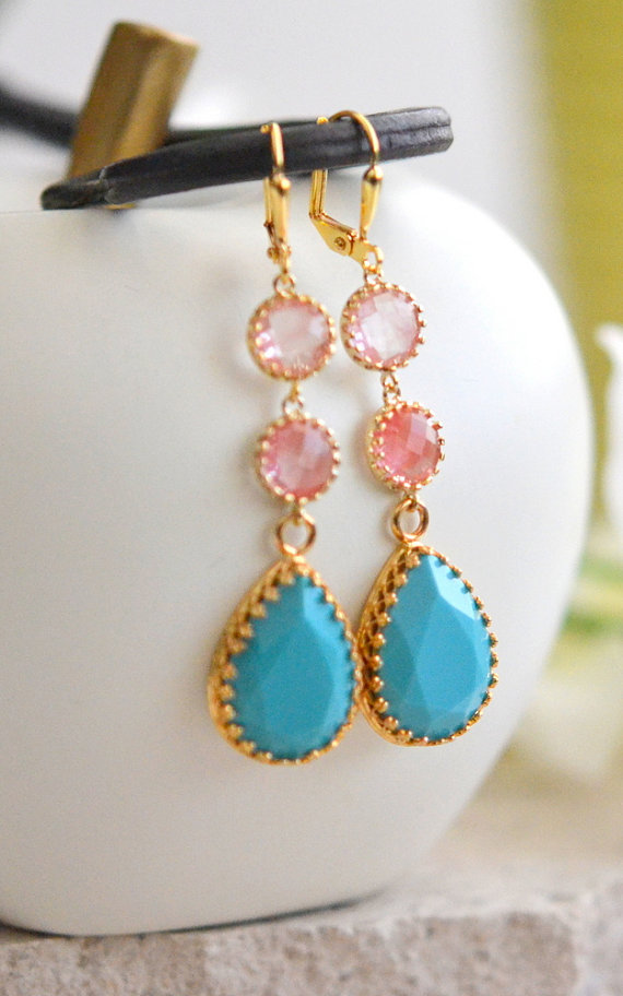 Свадьба - Long Jewel Earrings in Turquoise and Grapefruit Pink. Dangle Earrings.  Bridal Jewelry. Modern Fashion Earrings. Wedding. Gift.