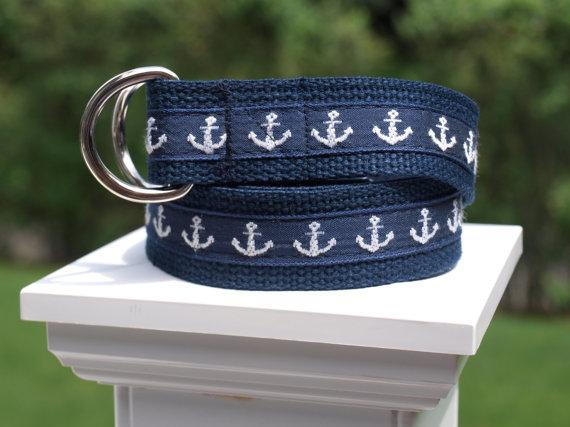 Mariage - Anchor Belt / Navy and White Belt / Nautical Belt / Canvas Belt for Boys