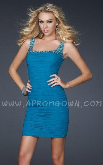 Свадьба - Short Stretch Net Cocktail Party Dress by La Femme 17076 Teal