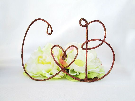 Rustic Cake Topper With Your Initials And HEART Accents Table Centerpiece With Your Initials