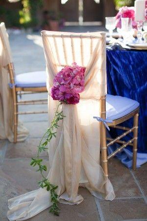 Hochzeit - Elegant Champagne Chair Cover Orchids