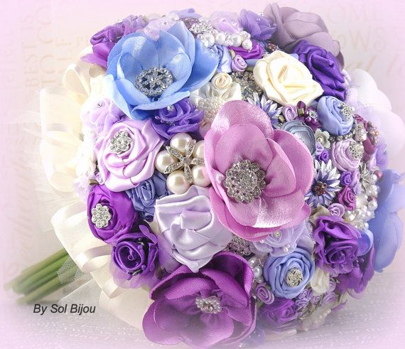 Hochzeit - Brooch Bouquet Large Jeweled Bouquet Wedding Bouquet In Purple, Periwinkle, Lilac And Ivory